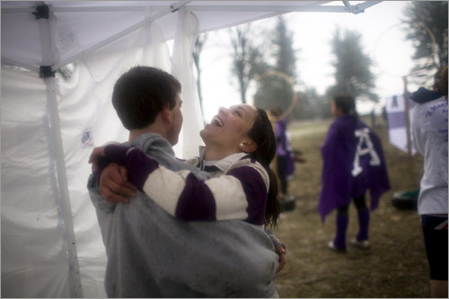 Amherst College's Caitlin Demkin hugged teammate Kevin Cecala after subbing out of an exhausting game of Quidditch. The fictional game from the Harry Potter book series has become very real, with college students from Middlebury playing against Amherst in Amherst last Friday.