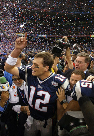 Buy photographs by Bill Greene New England Patriots quarterback Tom Brady celebrates after leading the Patriots to victory in Superbowl XXXVI at the Louisiana Superdome against the St. Louis Rams in 2002.