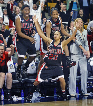 Buy this picture! Maryland's Kristie Toliver and her teammates jump for joy after she tied the 2006 NCAA Womens National Championship game in the final seconds of regulation. Maryland went to defeat Duke in overtime.