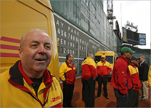 Lead driver Michael McDonald, who has been with DHL for 38 years, arrived at Fenway Park with his fellow drivers at 6 a.m.