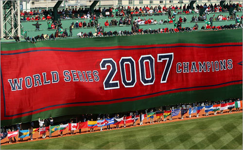 The 2007 World Series Champions banner hangs over the Green Monster in left field.