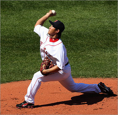 Red Sox starter Daisuke Matsuzaka pitched against the Detroit Tigers in the first inning.