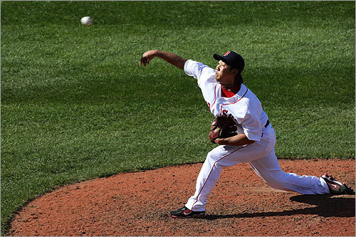 Daisuke Matsuzaka pitched in the sixth inning against the Tigers.