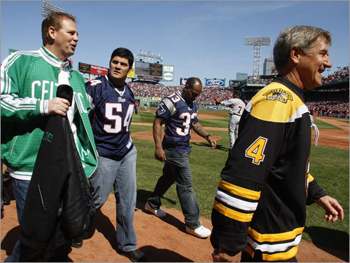 Danny Ainge, Tedy Bruschi, and Bobby Orr were some of the area stars on hand for the pregame ceremonies.