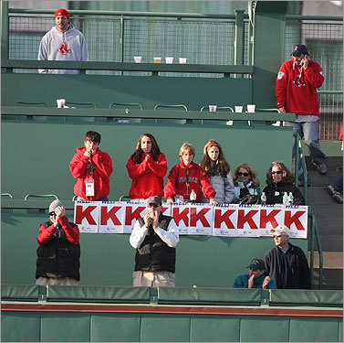 Fans in the Monster Seats cheered the last strikeout in the ninth inning.