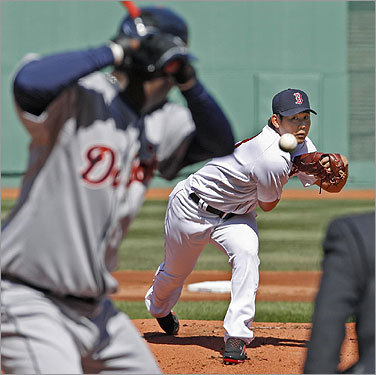 Daisuke Matsuzaka fired off the first pitch of the Fenway Park season to Edgar Renteria.