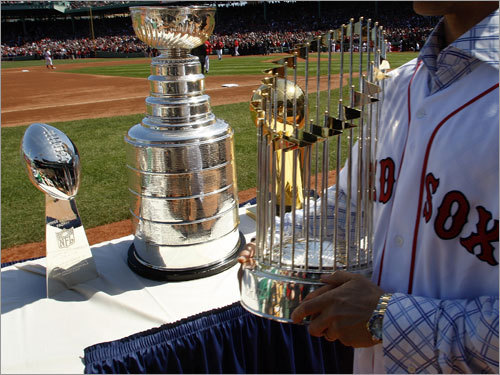 The championship trophies from all four of the major Boston sports teams.