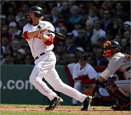 Kevin Youkilis doubled in the sixth, and went three for three with two RBIs in the game.