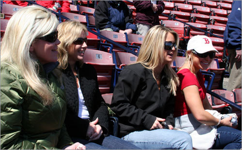 Sarah Ordway from Hanover, wife of sports radio WEEI personality Glenn Ordway, Paula Pizzimento from Hudson, Marie Spang from Wakefield, and Amanda Ordway (Glenn's daughter) from Hanover, enjoyed the scene and sun at Fenway prior the pregame ceremony. Sarah wanted to pass along that she and her daughter, Mia Grace Ordway, 'are doing great' after recovering from medical issues during Mia's birth in February.