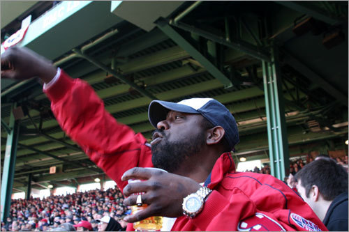 Tom Bryant, from Franklin, is fired up for the Red Sox ring ceremony on Opening Day at Fenway.