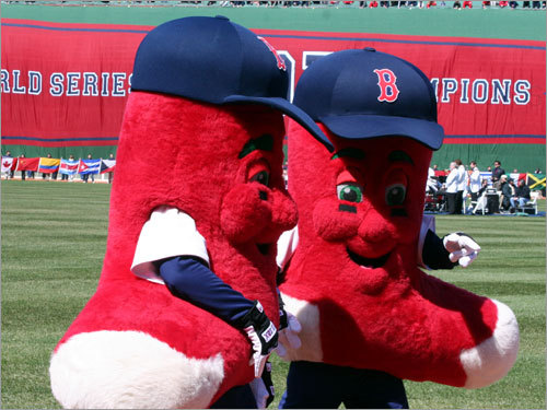 Mascots Lefty and Righty did not head to Los Angeles with Dr. Charles Steinberg. They were out and about at Fenway Park on Opening Day. No word as to how Wally feels about these two.