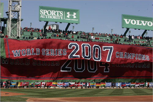 The banner proclaiming the Sox's 2007 World Series championship fell over the 2004 edition.
