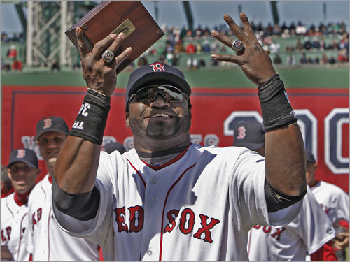 David Ortiz merrily showed off his rings from 2004 and 2007, much to the crowd's delight (as well as Jonathan Papelbon's).