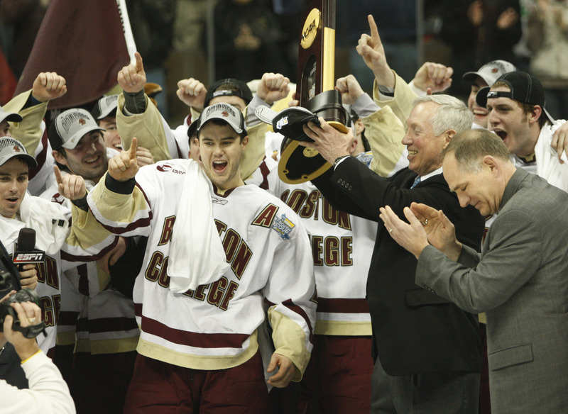 April 12: Eagles soar on ice The powerhouse Boston College Eagles entered the NCAA Division I Ice Hockey Tournament as a No. 2 seed at 21-11-8, a tournament champion already and hungry for more. After defeating Minnesota and Miami (Ohio) in the Northeast Regional, the Eagles wrecked North Dakota 6-1 in the Frozen Four semifinals before demolishing Notre Dame 4-1 in the finals.