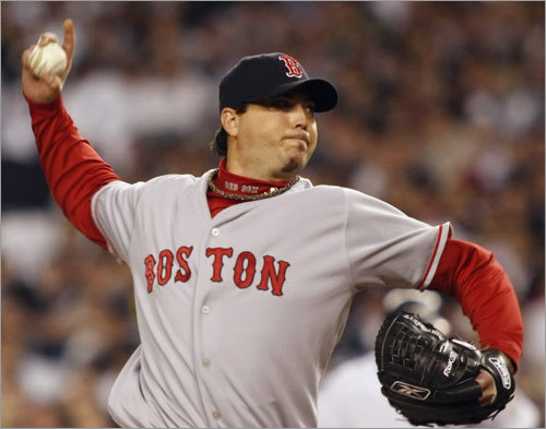 Red Sox starting pitcher Josh Beckett pitches to the New York Yankees in the fourth inning.