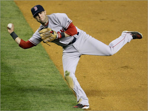 Red Sox second baseman Dustin Pedroia makes an off-balance throw to first base for the out on a slow ground ball hit by Alex Rodriguez during the eighth inning.