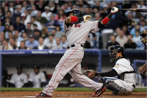 Manny Ramirez (24) follows through on the first of his two home runs Thursday against the New York Yankees.