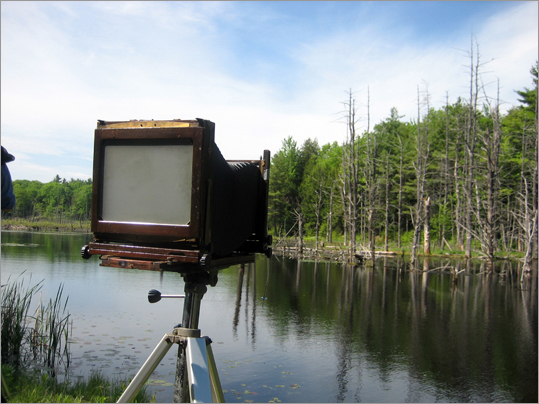 An 8-by-10-inch (large format) view camera set up on a pond near Keene, N.H.