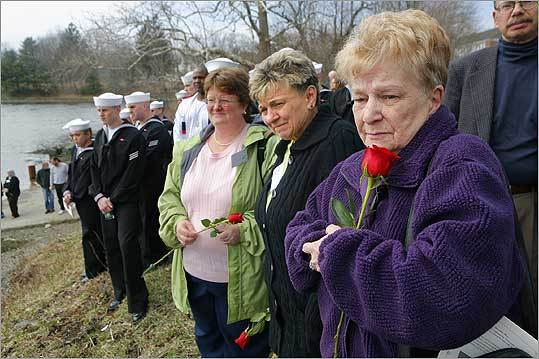 From right, Robena Schwartz, Judith Smarz Douglas, and Wendy Riemenschneider watched a memorial wreath float by during a service marking the 45th anniversary of the loss of the USS Thresher submarine and its crew of 129 men during sea trials. The service drew about 300 people to Traip Academy in Kittery. The engine room accident that caused the submarine to sink helped trigger a submarine safety program to correct design and construction problems.