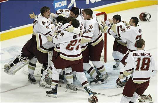 Boston College players celebrated their 4-1 victory over Notre Dame in the NCAA Frozen Four men's hockey national championship game played in Denver last Saturday.