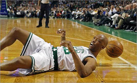 Celtics player Sam Cassell was looking for a foul call after he hit the floor chasing a loose ball in the second half of the game. The Celtics closed out the 2007-08 regular season at the TD Banknorth Garden with a win over the New Jersey Nets, finishing with a record of 66-16.