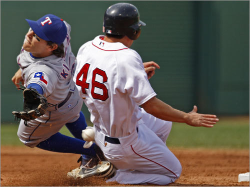 Rangers second baseman Ian Kinsler dove but can't get to a wild throw from catcher Gerald Laird as Jacoby Ellsbury stole second base during the third inning.