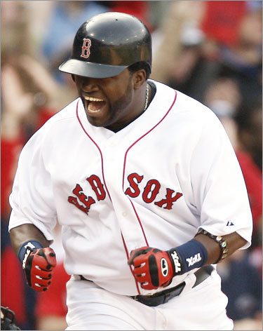 David Ortiz yelled after scoring the game-tying run on a triple by teammate Dustin Pedroia during the eighth inning.
