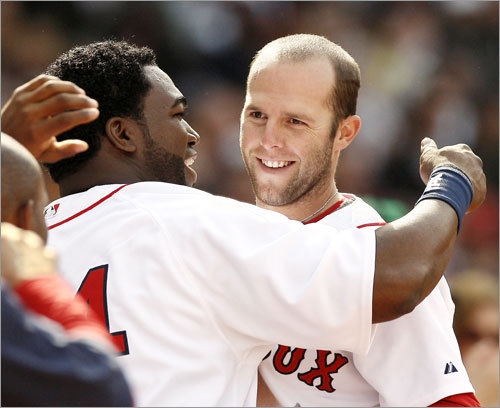 David Ortiz congratulated Dustin Pedroia after Pedroia scored the go-ahead run in the eighth inning.