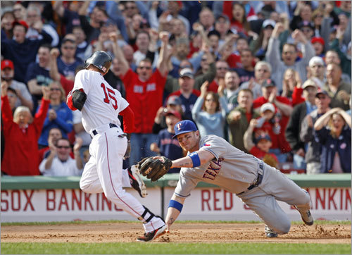 Red Sox Dustim Pedroia made Rangers third baseman Hank Blalock miss the tag afer Pedroia hit an RBI double and advanced to third base on an error by Rangers center fielder Josh Hamilton during the eighth inning. The hit scored David Ortiz and tied the game.