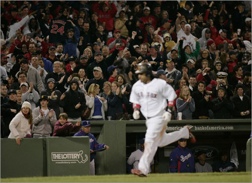 Saturday: Sox 5, Rangers 3 Not long after the Bruins' dramatic victory, the Red Sox pulled one of their own. Trailing by a run in the eighth inning, David Ortiz tied it with an RBI single and Manny Ramirez provided the winning margin with a two-run blast off a light tower in left field ( homer No. 496 of his career ).