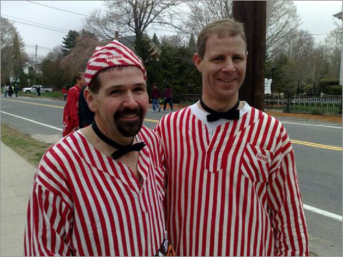 Kevin Kelly (left), 50, of Weymouth, is running his 15th Boston Marathon, 21st total. Jack Shields (right), 40, of South Boston, is running his 5th Boston Marathon, 7th total. They run with the L Street running club and wear these outfits to lighten the load.
