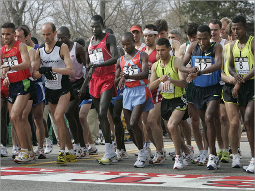The elite men took their first steps onto the start line at the 2008 Boston Marathon in Hopkinton.