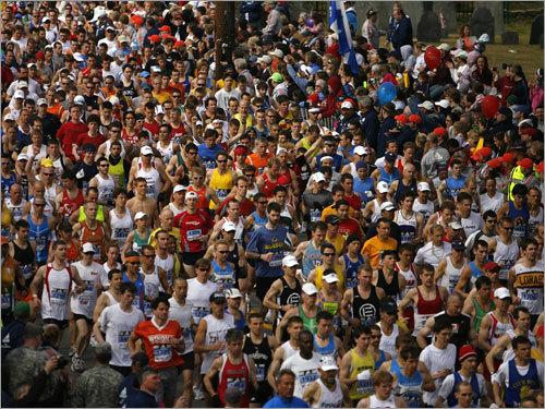 Runners streamed across the start line just after the 10 a.m. start gun.