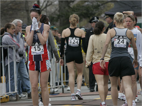 An elite women's runner composed herself before the start.