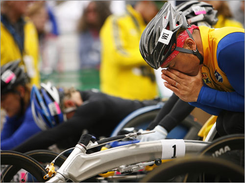 Competitors in the wheelchair race stayed focus in the seconds before the start gun.