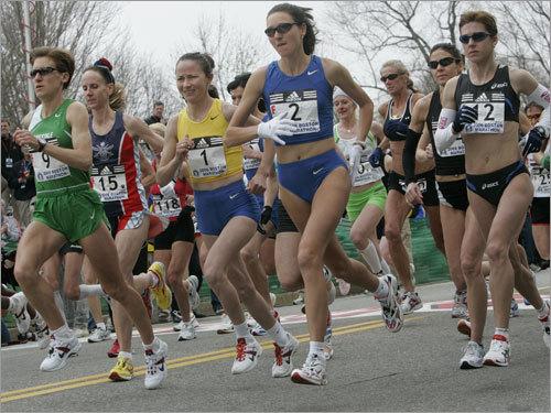 The elite women started their 2008 Boston Marathon in Hopkinton.