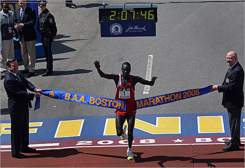 Men's first-place winner Robert Cheruiyot of Kenya crossed the finish line for his fourth Boston Marathon win.