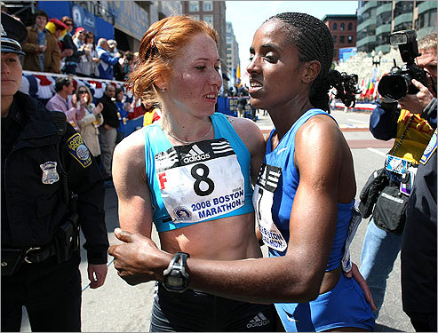 No hard feelings as the first- and second-place winners in the women's division embraced after their finish.