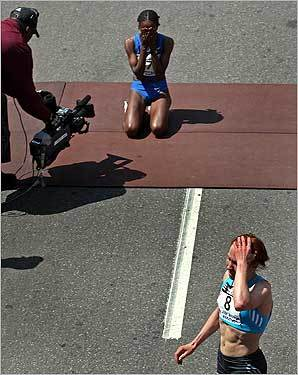 The emotions of the close race got to both Dire Tune and Alevtina Biktimirova (front).
