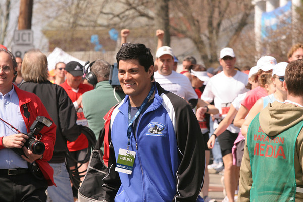 Tedy Bruschi walked near the start line in Hopkinton.