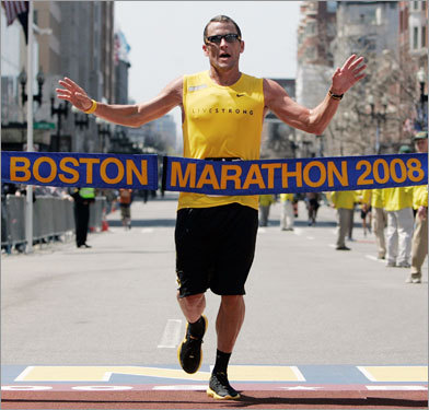 Lance Armstrong crossed the finish line after completing the 112th Boston Marathon.