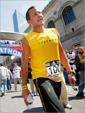 Lance Armstrong cooled off after finishing the Boston Marathon for the first time.