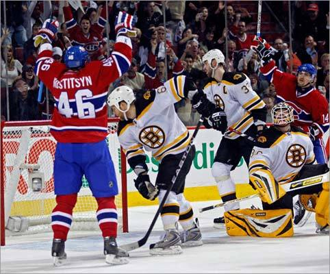 April 21, 2008: Canadiens 5, Bruins 0 Andrei Kostitsyn (left) had two goals in Game 7 of the conference quarterfinals at the Bell Centre. The Canadiens had taken a 3-1 series lead, but the Bruins staved off elimination in Game 5 with a 5-1 victory, then edged the Canadiens, 5-4, in Game 6 before getting shut out in Montreal in the deciding game.