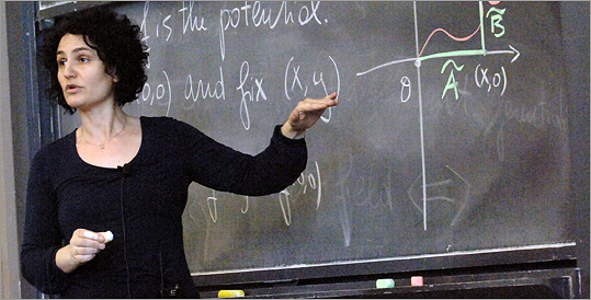 MIT Professor Gigliola Staffilani at the blackboard.