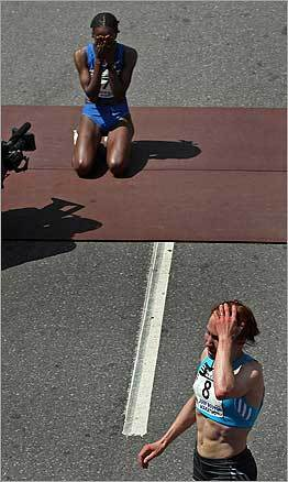 At the finish line of the Boston Marathon, women's first-place winner Dire Tune of Ethiopia kneeled for joy after her tight finish with second-place winner Alevtina Biktimirova (foreground, right) of Russia.