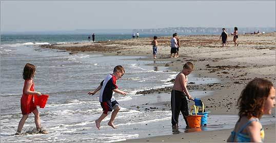 As temperatures reached the 80s in the Boston area last week, children took to the water at Front Beach along Winthrop Shore Drive in Winthrop.