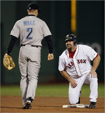 Kevin Youkilis snapped a slump in this game, collecting two hits as well as a stolen base.