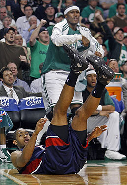 Celtic James Posey signaled traveling from the bench after the Hawks Al Horford tumbled in front of him during a second quarter play. The referees agreed with Posey.
