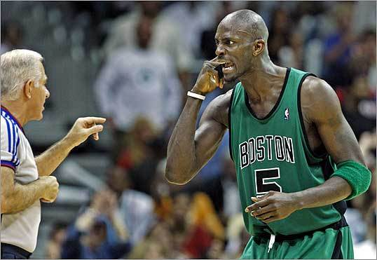 The Celtics' Kevin Garnett howled at a referee after Boston was called for a 24-second violation.