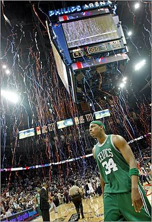 Boston Celtics captain Paul Pierce walked off the court at the end of Game 4. The Hawks beat the Celtics 97-92 at Philips Arena.